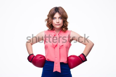 Beautiful elegant woman with boxing gloves Stock photo © deandrobot