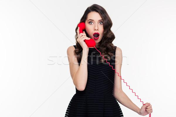 Maravilhado mulher make-up estilo retro falante telefone Foto stock © deandrobot