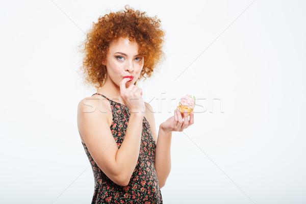 Stockfoto: Vrouw · eten · cake · mooie · geïsoleerd