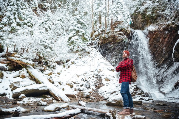 Pensive bearded man stading near waterfall at mountains in winter Stock photo © deandrobot