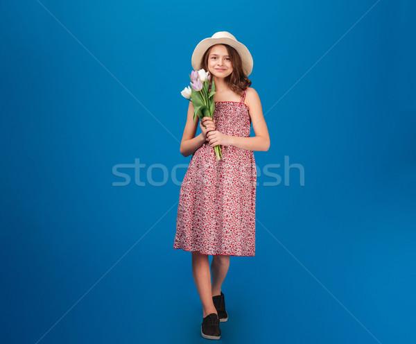 Stockfoto: Cute · gelukkig · meisje · permanente · vers