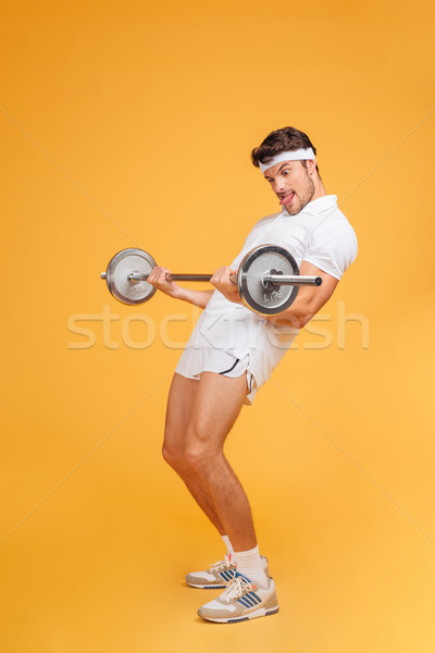 面白い 小さな スポーツマン 舌 ストックフォト © deandrobot