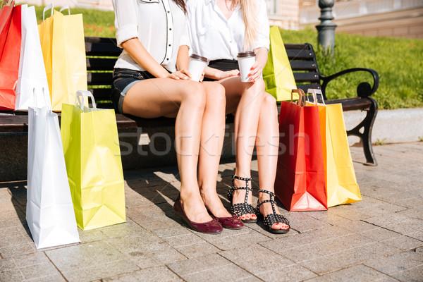 изображение две женщины скамейке вместе Сток-фото © deandrobot