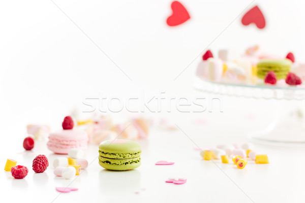 Colorful french macaroons and marshmallows Stock photo © deandrobot