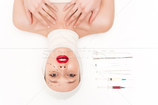 Fashion woman in bandages Stock photo © deandrobot