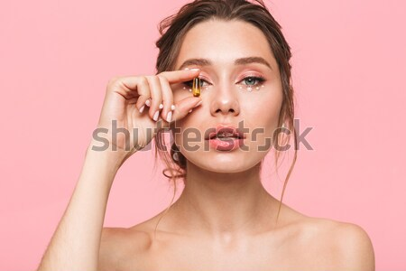 Tajemnicy kobieta ręce twarz odizolowany biały Zdjęcia stock © deandrobot
