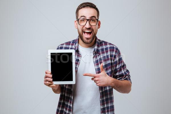 Szczęśliwy brodaty człowiek ekranu Zdjęcia stock © deandrobot