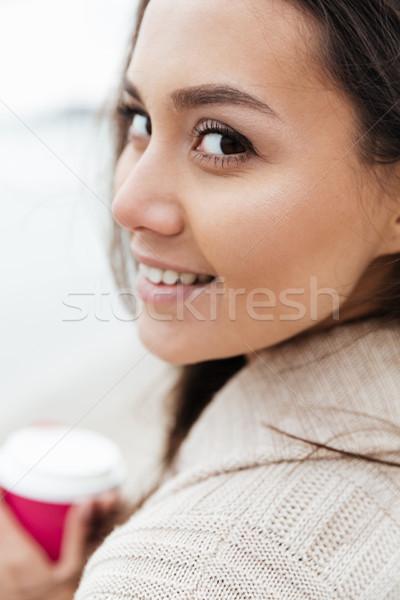 Alegre jóvenes caucásico dama caminando aire libre Foto stock © deandrobot