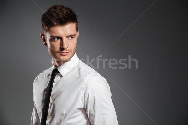 Serious handsome man in shirt and tie standing Stock photo © deandrobot