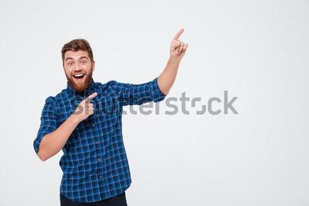 Stok fotoğraf: Mutlu · adam · işaret · bo · yalıtılmış · beyaz