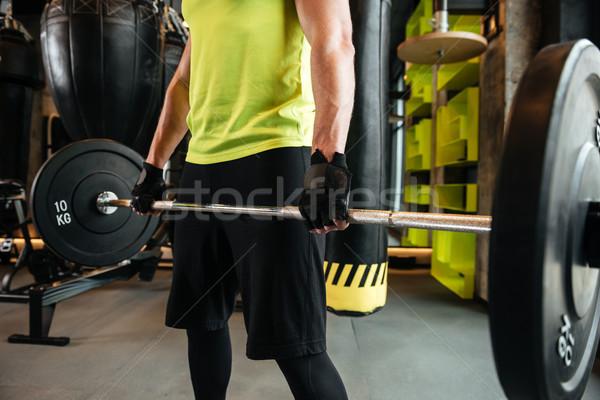 画像 小さな 筋肉の 男 バーベル ジム ストックフォト © deandrobot
