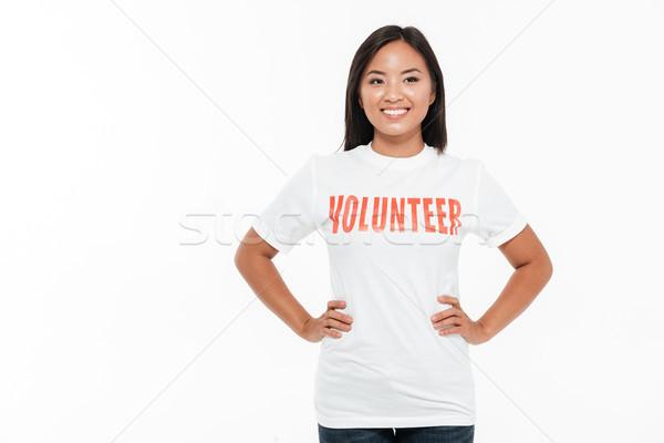 Retrato feliz alegre asiático mulher voluntário Foto stock © deandrobot