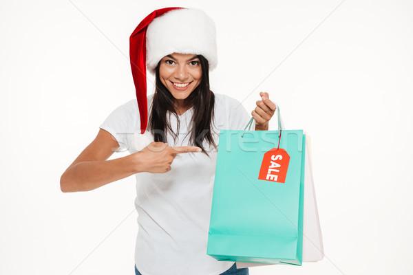 Foto stock: Retrato · feliz · mulher · vermelho · natal · seis
