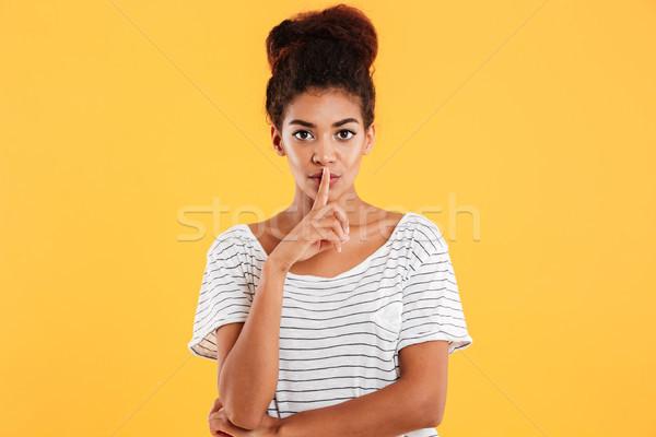 Grave donna silenzio gesto Foto d'archivio © deandrobot