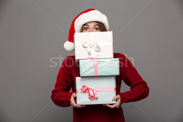 Portrait of a young girl in Christmas hat Stock photo © deandrobot
