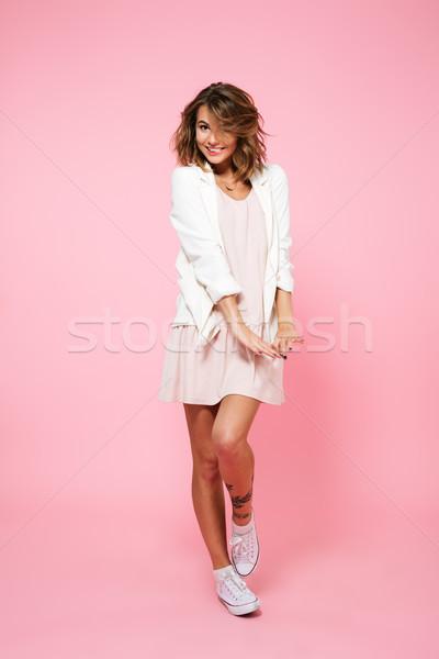 Stock fotó: Teljes · alakos · portré · lány · nyár · ruha · pózol
