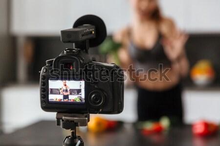 видеокамерой молодые мужчины блоггер кухне Сток-фото © deandrobot