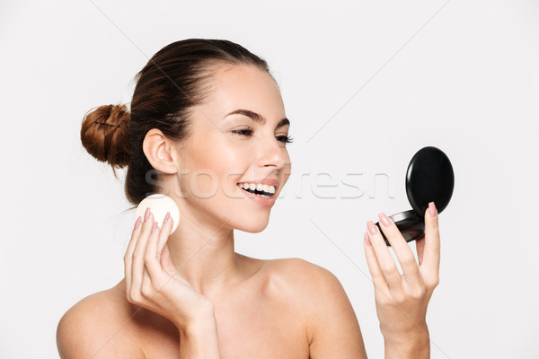 Beauty portrait of a happy attractive half naked woman Stock photo © deandrobot