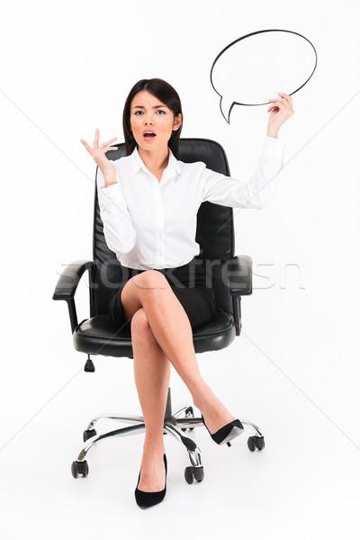 Stockfoto: Portret · verward · asian · zakenvrouw · bril