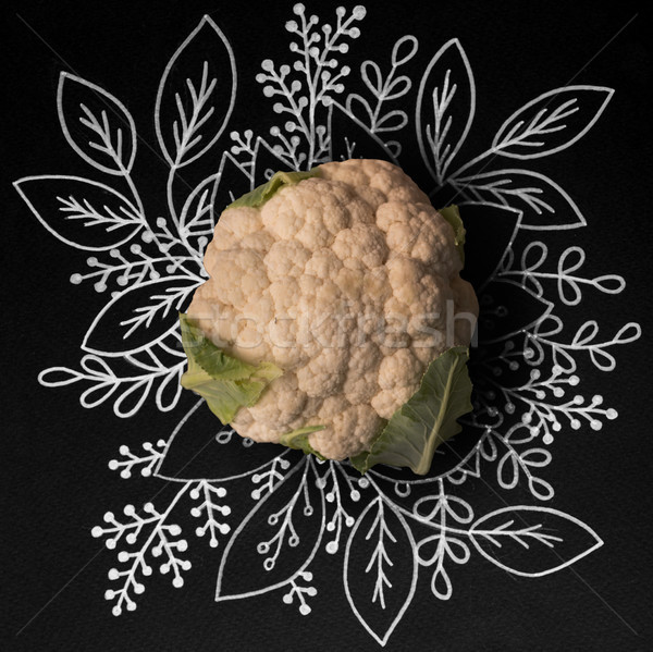 Cauliflower over outline floral background Stock photo © deandrobot