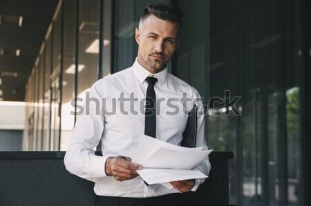 Portré fókuszált fiatal üzletember hivatalos ruházat Stock fotó © deandrobot