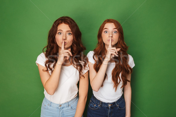 Shh! Portrait of two young redhead women 20s in casual wear look Stock photo © deandrobot