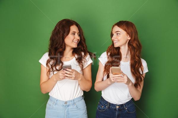 Retrato dois adolescente mulheres gengibre cabelo Foto stock © deandrobot
