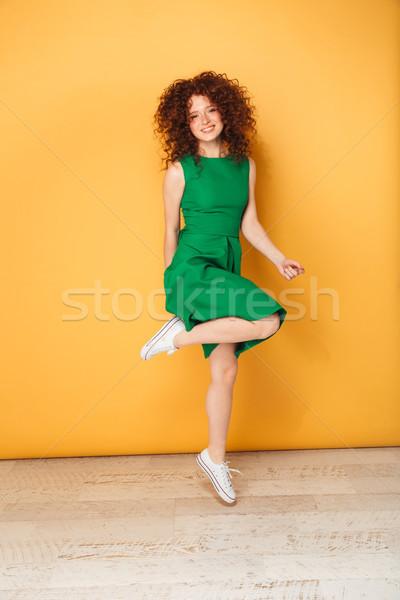 Ritratto gioioso giovani donna Foto d'archivio © deandrobot