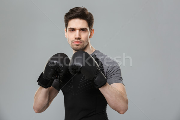 Serious young sportsman boxer make sport exercises wearing gloves. Stock photo © deandrobot