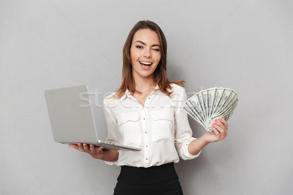Сток-фото: портрет · молодые · деловой · женщины · портативного · компьютера