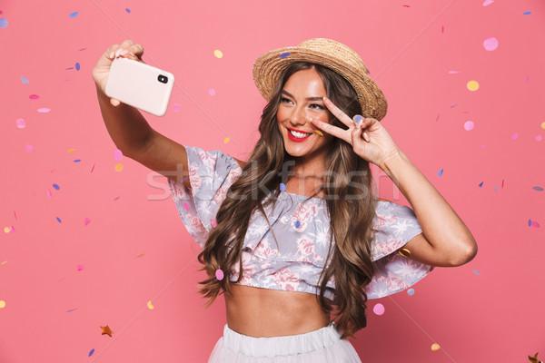 Photo stock: Portrait · heureux · jeune · fille · été · vêtements