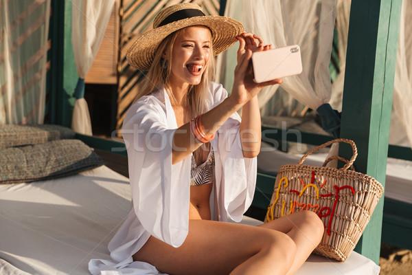 Juguetón joven verano sombrero tiempo Foto stock © deandrobot