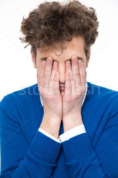 Człowiek kręcone włosy twarz ręce włosy smutne Zdjęcia stock © deandrobot