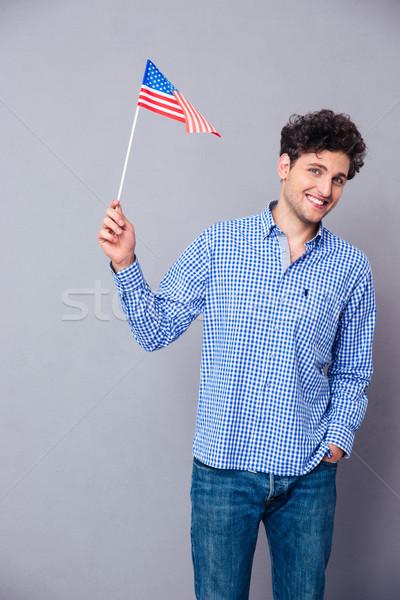 Feliz hombre EUA bandera retrato Foto stock © deandrobot