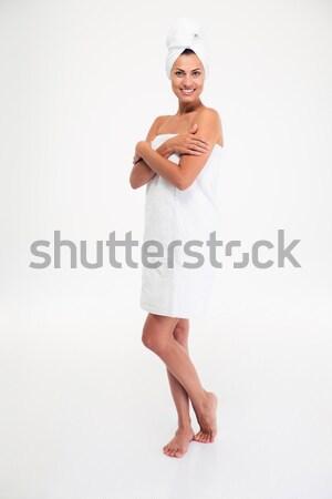 肖像 美しい 笑顔の女性 タオル 立って ストックフォト © deandrobot