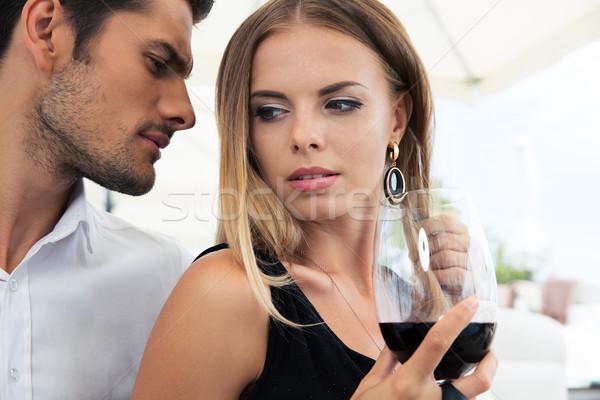Para dating Kafejka dziewczyna miłości Zdjęcia stock © deandrobot