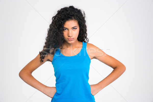 Serious afro american woman looking at camera Stock photo © deandrobot