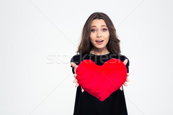 счастливым женщину сердце подушкой портрет Сток-фото © deandrobot