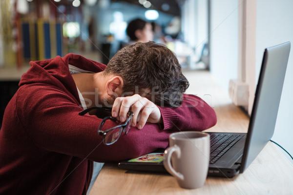 疲れ 男 眼鏡 寝 ストックフォト © deandrobot