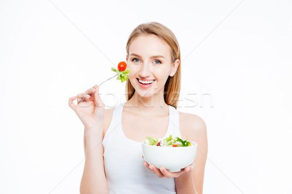 Donna mangiare sano alimentare sfondo Foto d'archivio © deandrobot