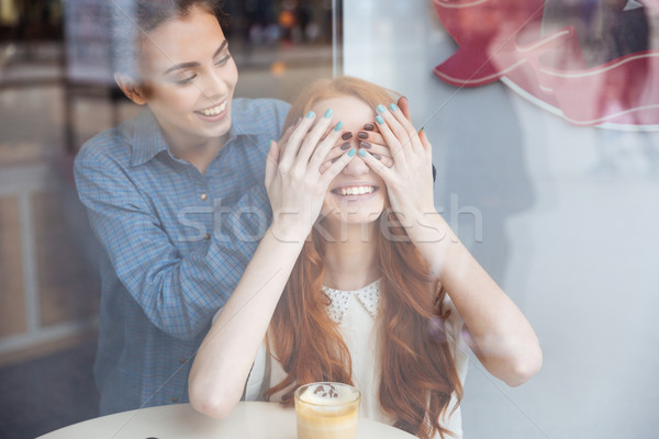 Woman covered eyes by hands to girl sitting in cafe Stock photo © deandrobot