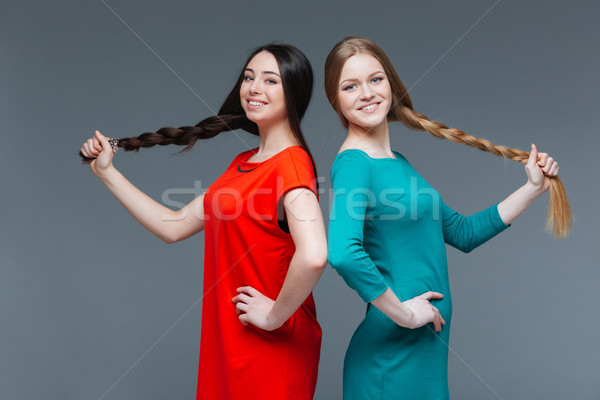 Two women with dark and fair hair showing long braids  Stock photo © deandrobot
