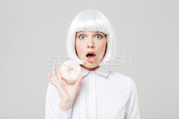 Sevimli genç kadın peruk Stok fotoğraf © deandrobot