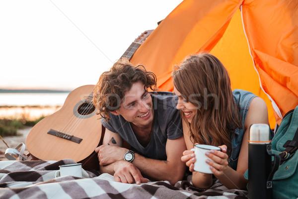 Szczęśliwy pitnej herbaty namiot Zdjęcia stock © deandrobot