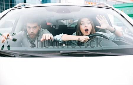 Resim çift kaza adam tekerlek Stok fotoğraf © deandrobot