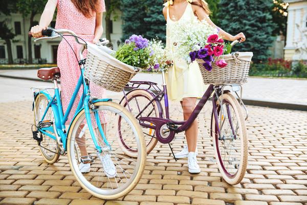 изображение два Платья ретро Велосипеды Сток-фото © deandrobot