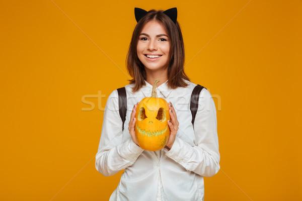 портрет счастливым школьница равномерный рюкзак Сток-фото © deandrobot