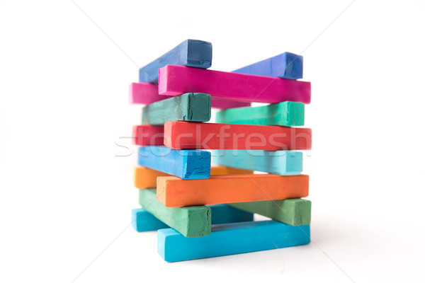 Close up photo of hight colorful chalks tower Stock photo © deandrobot