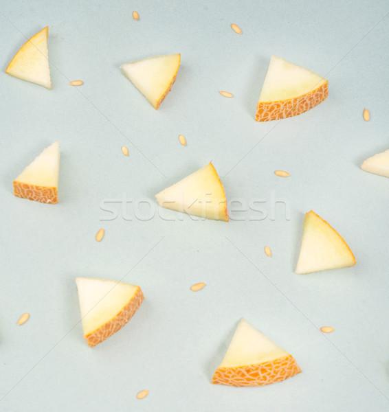 Parçalar kavun mavi farklı üçgen sarı Stok fotoğraf © deandrobot