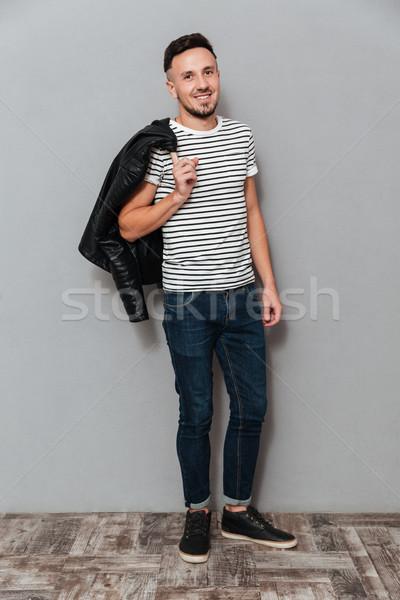 Obraz uśmiechnięty człowiek kurtka Zdjęcia stock © deandrobot